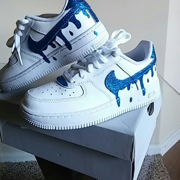Junior Nike Air Force Ones White customised with White | Etsy